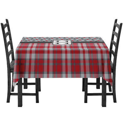Red & Gray Dots and Plaid Tablecloth (Personalized)