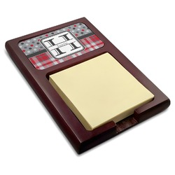 Red & Gray Dots and Plaid Red Mahogany Sticky Note Holder (Personalized)