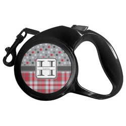 Red & Gray Dots and Plaid Retractable Dog Leash (Personalized)