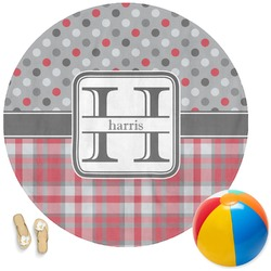 Red & Gray Dots and Plaid Round Beach Towel (Personalized)