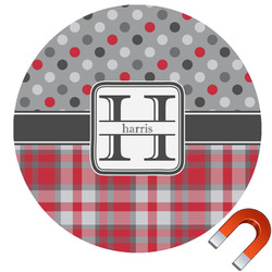 Red & Gray Dots and Plaid Round Car Magnet (Personalized)