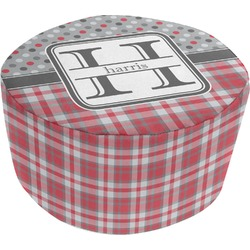 Red & Gray Dots and Plaid Round Pouf Ottoman (Personalized)