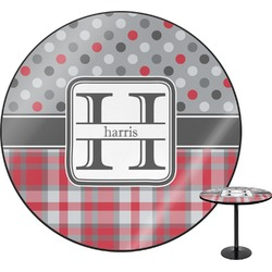 Red & Gray Dots and Plaid Round Table (Personalized)