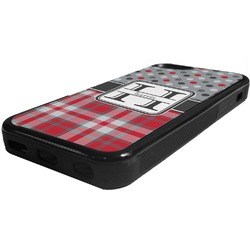 Red & Gray Dots and Plaid Rubber iPhone 5C Phone Case (Personalized)