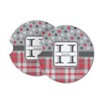 Red & Gray Dots and Plaid Sandstone Car Coasters (Personalized)