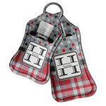 Red & Gray Dots and Plaid Hand Sanitizer & Keychain Holder (Personalized)