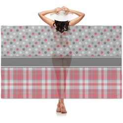 Red & Gray Dots and Plaid Sheer Sarong (Personalized)