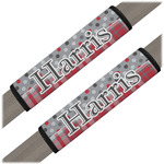 Red & Gray Dots and Plaid Seat Belt Covers (Set of 2) (Personalized)