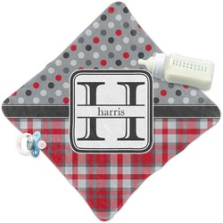 Red & Gray Dots and Plaid Security Blanket (Personalized)