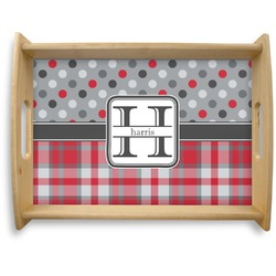 Red & Gray Dots and Plaid Natural Wooden Tray - Large (Personalized)