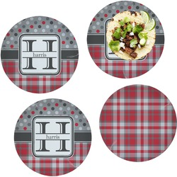 Red & Gray Dots and Plaid Set of 4 Lunch / Dinner Plates (Glass) (Personalized)