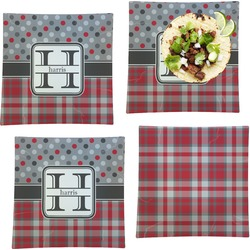 Red & Gray Dots and Plaid Set of 4 - Square Dinner Plates (Personalized)