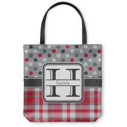 Red & Gray Dots and Plaid Canvas Tote Bag (Personalized)