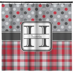 Red & Gray Dots and Plaid Shower Curtain (Personalized)