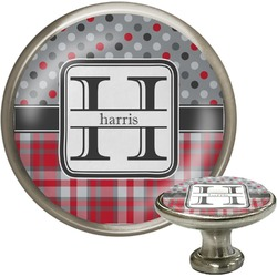 Red & Gray Dots and Plaid Cabinet Knob (Silver) (Personalized)
