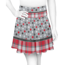 Red & Gray Dots and Plaid Skater Skirt (Personalized)