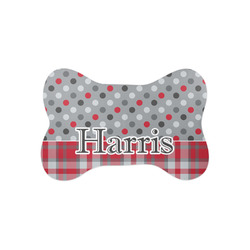 Red & Gray Dots and Plaid Bone Shaped Dog Food Mat (Small) (Personalized)