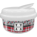 Red & Gray Dots and Plaid Snack Container (Personalized)