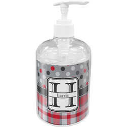 Red & Gray Dots and Plaid Soap / Lotion Dispenser (Personalized)