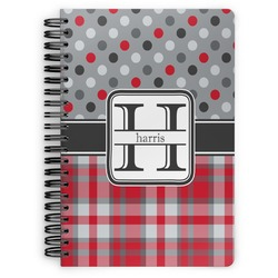 Red & Gray Dots and Plaid Spiral Bound Notebook (Personalized)