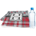 Red & Gray Dots and Plaid Sports & Fitness Towel (Personalized)