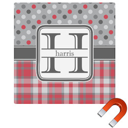 Red & Gray Dots and Plaid Square Car Magnet (Personalized)