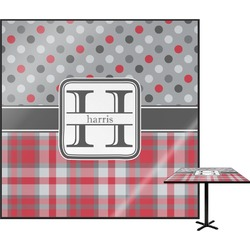 Red & Gray Dots and Plaid Square Table Top (Personalized)