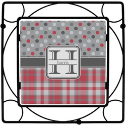 Red & Gray Dots and Plaid Square Trivet (Personalized)