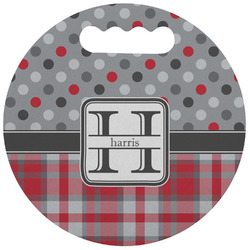 Red & Gray Dots and Plaid Stadium Cushion (Round) (Personalized)