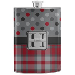 Red & Gray Dots and Plaid Stainless Steel Flask (Personalized)