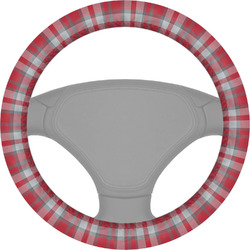 Red & Gray Dots and Plaid Steering Wheel Cover (Personalized)