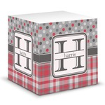 Red & Gray Dots and Plaid Sticky Note Cube (Personalized)