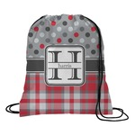 Red & Gray Dots and Plaid Drawstring Backpack (Personalized)