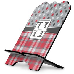 Red & Gray Dots and Plaid Stylized Tablet Stand (Personalized)