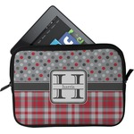 Red & Gray Dots and Plaid Tablet Case / Sleeve (Personalized)