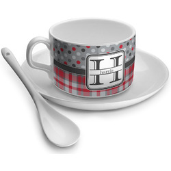 Red & Gray Dots and Plaid Tea Cup - Single (Personalized)