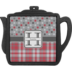Red & Gray Dots and Plaid Teapot Trivet (Personalized)