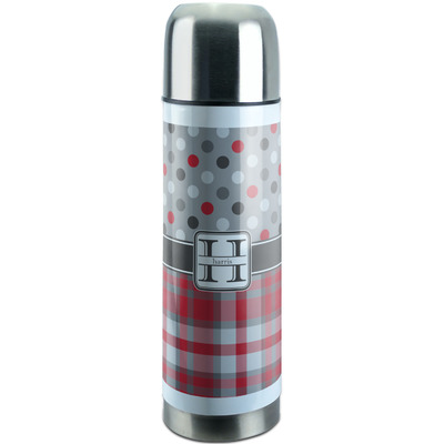 Red & Gray Dots and Plaid Stainless Steel Thermos (Personalized)