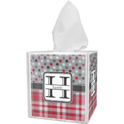 Red & Gray Dots and Plaid Tissue Box Cover (Personalized)