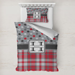 Red & Gray Dots and Plaid Toddler Bedding w/ Name and Initial