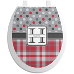 Red & Gray Dots and Plaid Toilet Seat Decal (Personalized)