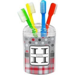 Red & Gray Dots and Plaid Toothbrush Holder (Personalized)