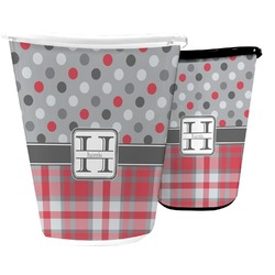Red & Gray Dots and Plaid Waste Basket (Personalized)