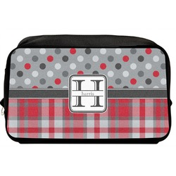 Red & Gray Dots and Plaid Toiletry Bag / Dopp Kit (Personalized)