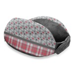Red & Gray Dots and Plaid Travel Neck Pillow