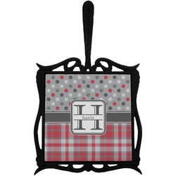 Red & Gray Dots and Plaid Trivet with Handle (Personalized)