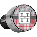 Red & Gray Dots and Plaid USB Car Charger (Personalized)