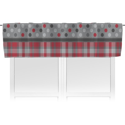 Red gray dots and plaid valance unlined personalized for Happy floors valencia grey