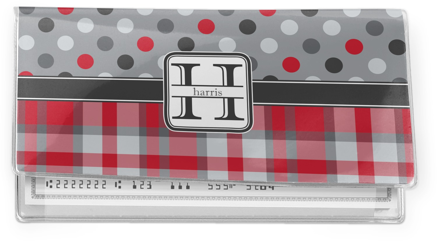 Cookbook Red Checkered Cover : Red gray dots and plaid vinyl check book cover