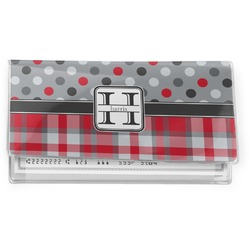 Red & Gray Dots and Plaid Vinyl Check Book Cover (Personalized)